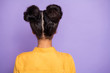 Leinwanddruck Bild - Rear behind view photo of pretty dark skin lady turned back showing amazing hairstyle after visiting styling salon wear yellow shirt isolated purple color background