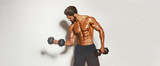 Handsome Muscular Men, Bodybuilder Lifting Weights. copy space