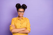 Leinwanddruck Bild - Photo of amazing pretty dark skin lady holding arms crossed positive working corporate mood wear specs yellow shirt isolated purple color background