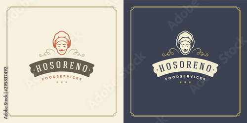 Restaurant logo template vector illustration chef man face in hat silhouette
