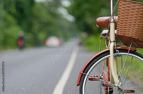 Türaufkleber Fahrrad Detail bicycle background, Part of bicycle transport of vintage bike closeup defocused