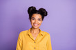 Leinwanddruck Bild - Closeup photo of amazing pretty dark skin lady in perfect mood beaming smiling on camera wear yellow shirt isolated on purple color background