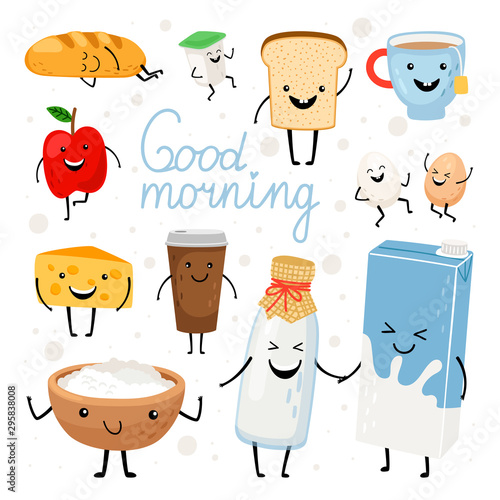 Fototapeta Dairy products kawaii flat vector illustrations set. Milk bottle, tea cup, cheese with cute smiling faces cliparts pack. Healthy breakfast meal ingredients. Fresh apple, yogurt design elements obraz