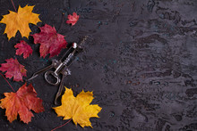 Flat Lay Composition With Wine Corkscrew And Autumn Leaves On Black Background, Copy Space
