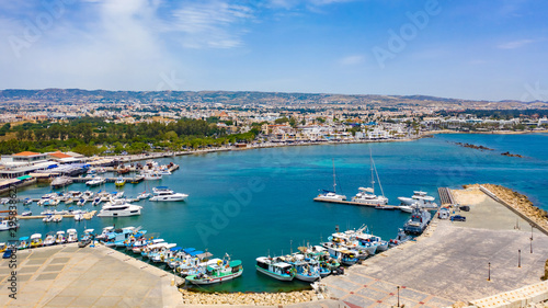 Poster de jardin Europe Méditérranéenne Cyprus. Pathos. Panorama of the Mediterranean coast from a height. Boat Harbor. Pleasure and fishing boats at the pier. Boat trips in the Mediterranean sea.