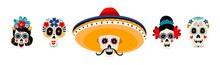 Sugar Mexican Skulls Flat Vect...