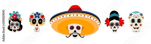 Fototapeta Sugar mexican skulls flat vector illustrations set. Skeleton heads with flowers isolated on white background. Skull with mustache in sombrero hat. Dia de los muertos holiday traditional decoration obraz