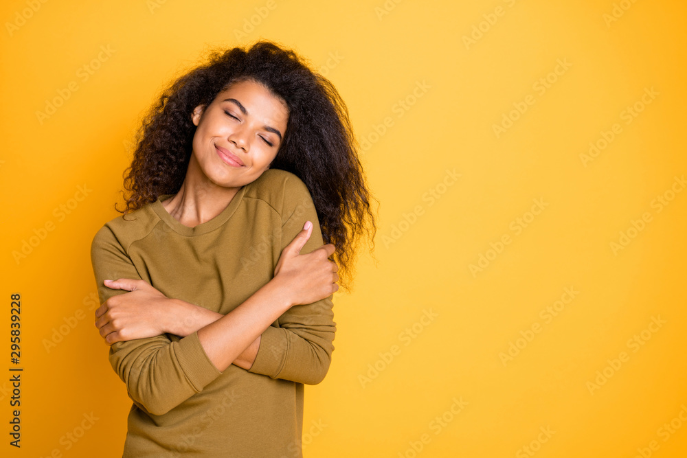 Fototapety, obrazy: Photo of casual cheerful brunette nice charming sweet pretty affectionate girlfriend enjoying company of her own in her favorite sweater isolated over vivid color background