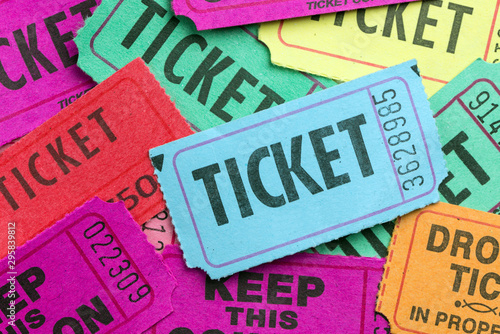 Multiple color paper show tickets in pile Canvas Print