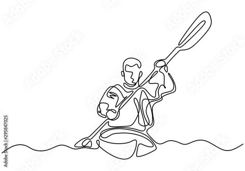 Oar board or Canoe one line continuous drawing Fototapeta