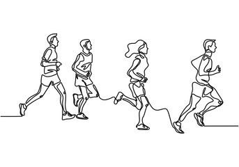 people running one line drawing vector illustration. Group of man and women doing exercise for healthy life. Vector illustration minimalism design simplicity style.