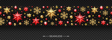 Christmas Horizontal Seamless Pattern With Christmas Decoration - Stars, Ruby Gems, Golden Snowflakes, Beads And Glitter Gold.