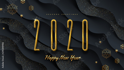 2020 new year logo. Greeting design with golden  number of year and snowflakes on a abstract black layered background. Design for greeting card, invitation, calendar, etc. - 295849416