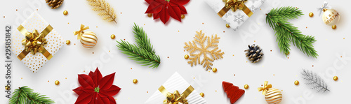 Christmas banner. Background Xmas objects viewed from above, realistic decorative design elements. Merry Christmas and happy New Year. Horizontal poster, website header, flat top view. - 295851842