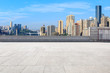 Empty floor and modern city financial district in Chongqing,China.