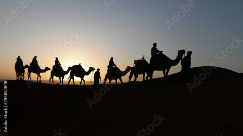 Keuken foto achterwand Kameel Silhouetted camel caravan at sunrise with sun shining behind a camel