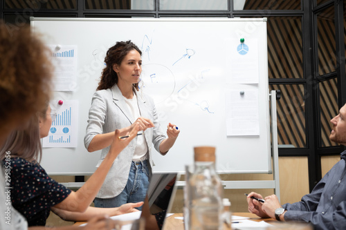 Cuadros en Lienzo  Female business coach makes presentation for staff