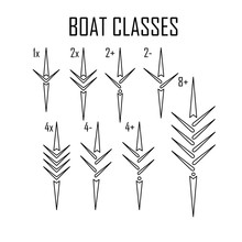 Rowing Boat Icon Set Isolated Whit Names