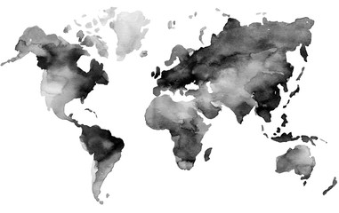 Illustration of hand painted Earth map in watercolor style.