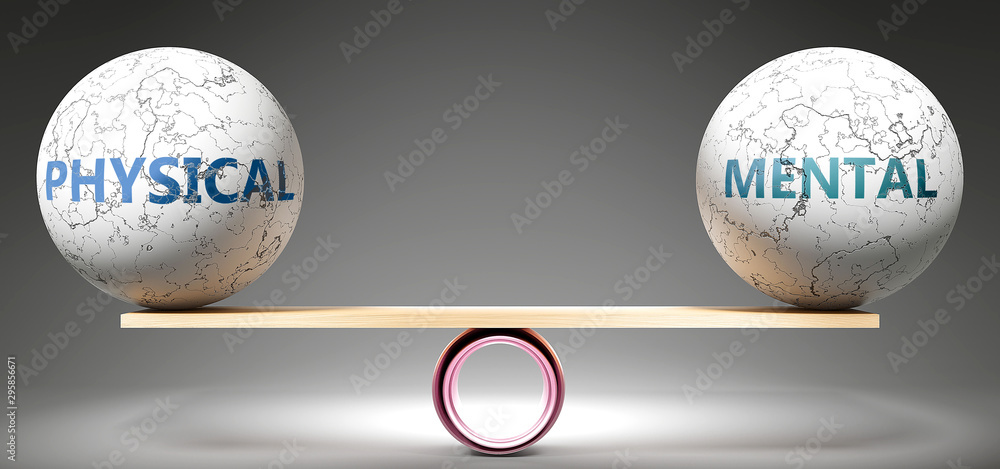 Fototapety, obrazy: Physical and mental in balance - pictured as balanced balls on scale that symbolize harmony and equity between Physical and mental that is good and beneficial., 3d illustration