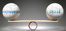 Knowledge And Skills In Balance - Pictured As Balanced Balls On Scale That Symbolize Harmony And Equity Between Knowledge And Skills That Is Good And Beneficial., 3d Illustration