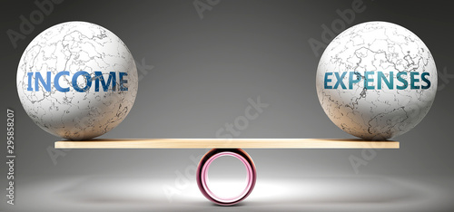 Fototapeta Income and expenses in balance - pictured as balanced balls on scale that symbolize harmony and equity between Income and expenses that is good and beneficial., 3d illustration obraz