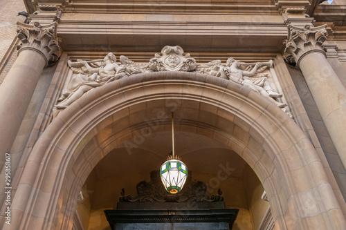 door of pilar cathedral in zaragoza spain