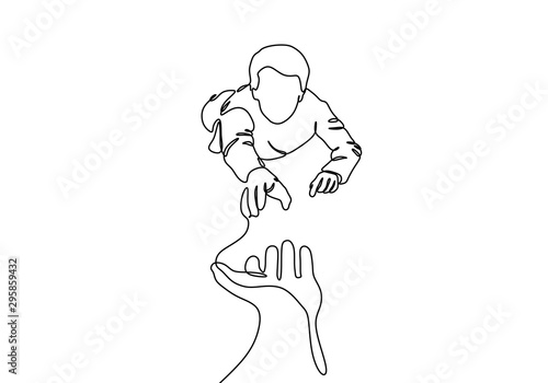 Canvastavla Continuous one line drawing of helping hand vector