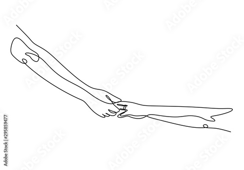 Photo Continuous one line drawing of holding hands