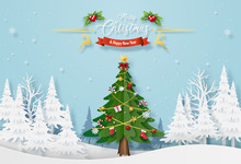 Origami Paper Art Of Christmas Tree With Decoration In The Forest With Snowing, Merry Christmas And Happy New Year