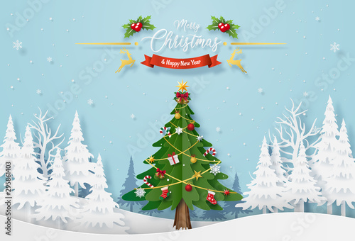 Garden Poster Light blue Origami paper art of Christmas tree with decoration in the forest with snowing, Merry Christmas and Happy New Year