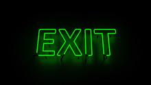 EXIT Green Neon Sign Dark Background