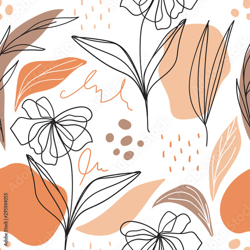 Tapeta do sypialni  modern-floral-seamless-pattern-with-abstract-shapes-for-print-fabric-wallpaper-scandinavian