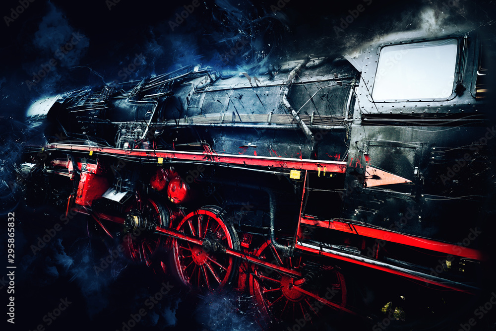 Photo  old steam locomotive power on black background