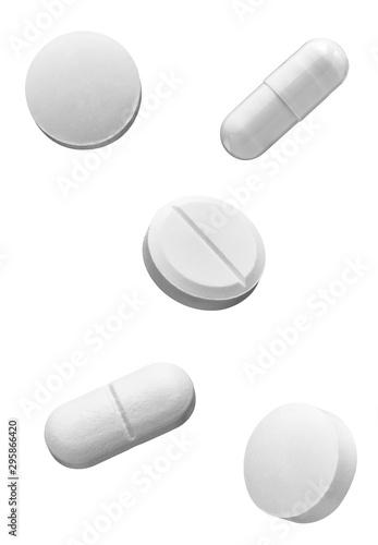 Stampa su Tela  white pill medical drug medication