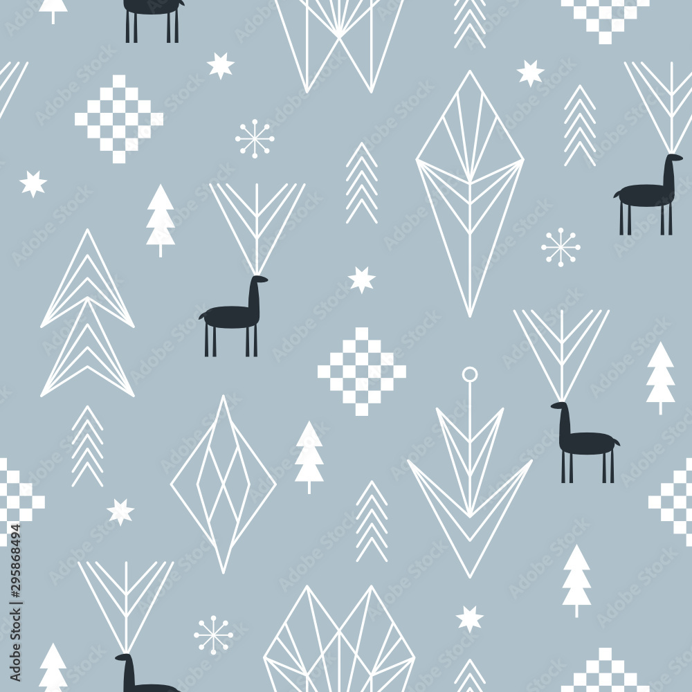 Fototapeta Seamless Christmas pattern with stylized snowflakes, deers, trees, geometric shapes, fabric design or gift paper, wrapping print
