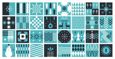 Set of squaer abstract pictures with trees and snowflakes. Geomentric shapes style. Christmas and New Year's patterns.