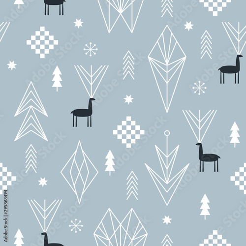 Seamless Christmas pattern with stylized snowflakes, deers, trees, geometric shapes, fabric design or gift paper, wrapping print