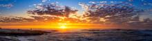 Panorama Of Sunset At The Beac...