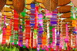Leinwanddruck Bild - colorful tung cloth using in religous ceremony good time in Thai culture ,make from cotton and woven many pattern.