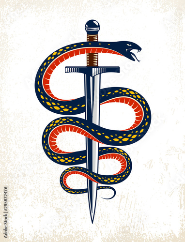Vászonkép Snake and Dagger, Serpent wraps around a sword vector vintage tattoo, Life is a Fight concept, allegorical logo or emblem of ancient symbol