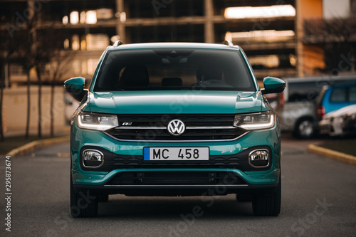 Volkswagen T-Cross at the city centre Canvas Print