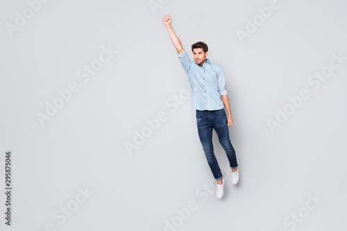Full length body size photo of aspiring man flying confidently to sales at disco Canvas Print