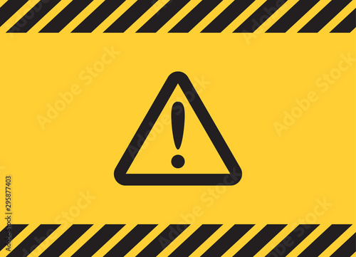 Photo Warning caution attention triangle sign on yellow banner background