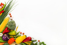 Vegetables Creating A Frame On White Background