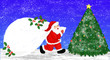 Leinwanddruck Bild - Santa Claus with holly and a christmas tree in the silent night 聖夜のサンタクロースとヒイラギとクリスマスツリー