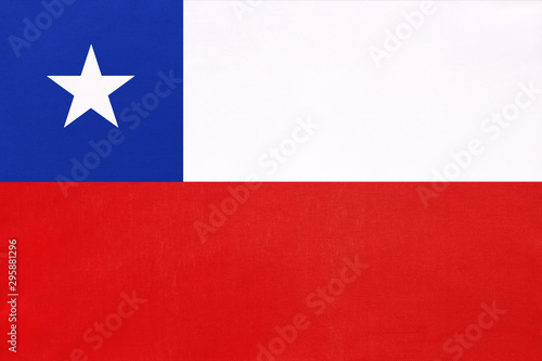 La pose en embrasure Amérique du Sud Chile national fabric flag, textile background. Symbol of international world South America country.