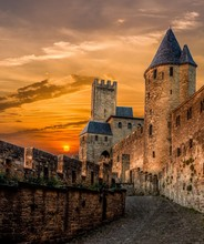 Beautiful Old Castles In Fortified City Of Carcassonne During Sunset