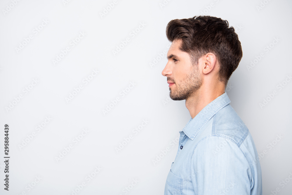 Fototapeta Profile side photo of attractive man leader real executive boss in enterprise look listen to his employees wear style stylish clothes isolated over grey color background