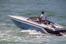 High-end Blue And White Inboard Engined Motorboat.